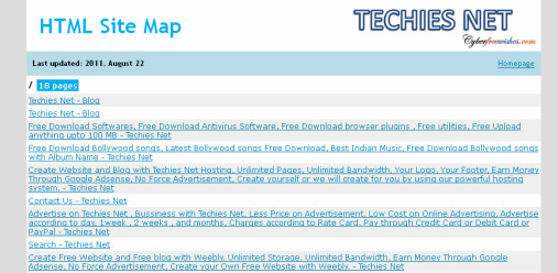 HTML Site Map - Techies Net