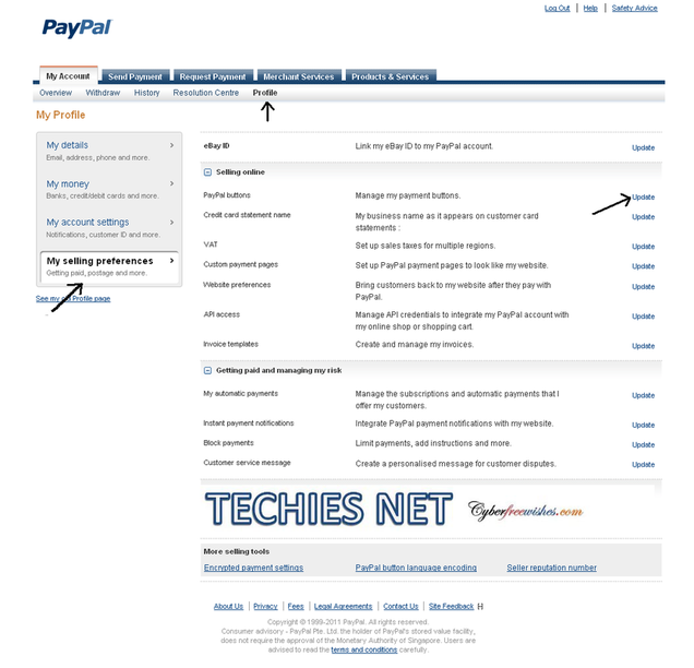 Procedure to connect to PayPal