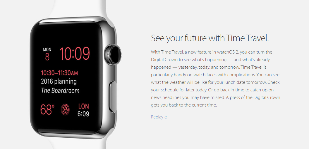 Watch OS 2 Time Travel