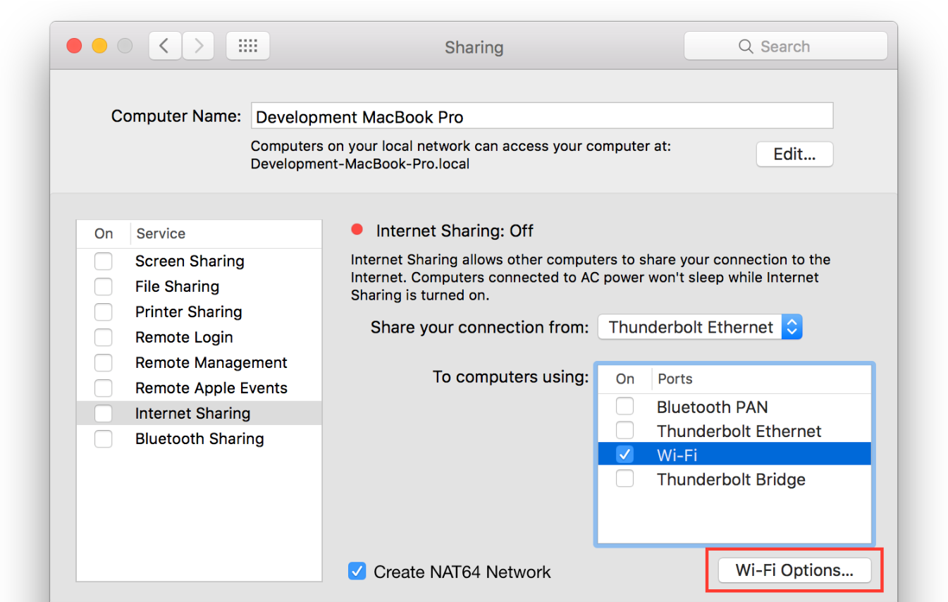 Macbook Pro Internet Sharing Wifi Opitons